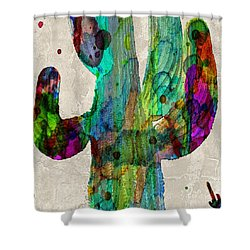 Saguaro Cactus Rainbow Print Poster Shower Curtain