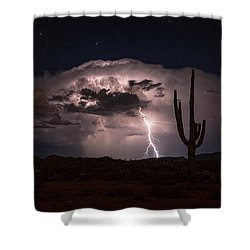 Shower Curtain featuring the photograph Saguaro Lit Up By The Lightning  by Saija Lehtonen