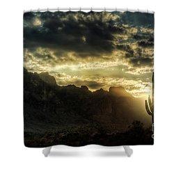 Saguaro Sunrise  Shower Curtain by Saija  Lehtonen
