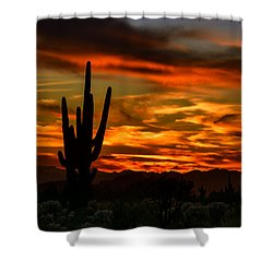 Shower Curtain featuring the photograph Saguaro Sunset H51 by Mark Myhaver