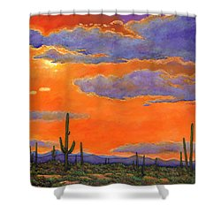 Saguaro Sunset Shower Curtain by Johnathan Harris