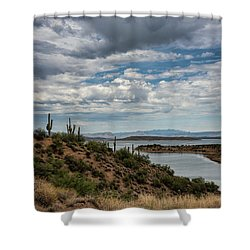 Shower Curtain featuring the photograph Saguaro With A Lake View  by Saija Lehtonen