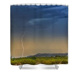 Saguaro With Lightning Shower Curtain