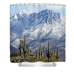 Saguaros At Four Peaks With Snow Shower Curtain by Tom Janca