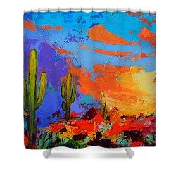 Saguaros Land Sunset By Elise Palmigiani - Square Version Shower Curtain