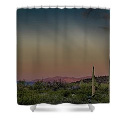 Saguaros Salute Rays Rising Shower Curtain