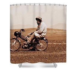 Shower Curtain featuring the photograph Sahara Biker by Ramona Johnston