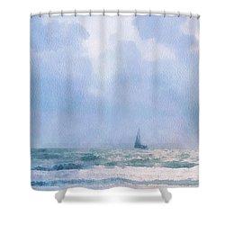 Shower Curtain featuring the digital art Sail At Sea by Francesa Miller