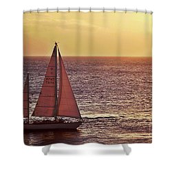 Sail Away Shower Curtain by Maria Arango