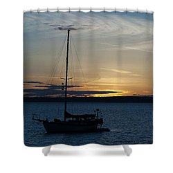 Sail Boat At Sunset Shower Curtain