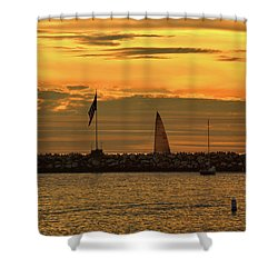 Sail Boat At Sunset Shower Curtain by Diane Lent