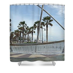 Sail Boat Fountain In Valencia Shower Curtain