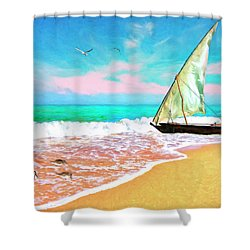 Sail Boat On The Shore Shower Curtain