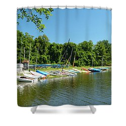 Sail Boats At Rest Shower Curtain by Donald C Morgan