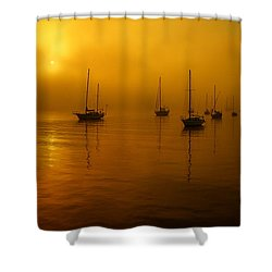 Sail Boats In Fog Shower Curtain