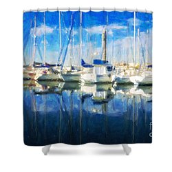 Sail Boats In Port Shower Curtain
