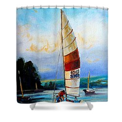Sail Boats On The Lake Shower Curtain by Carole Spandau