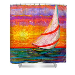 Sailaway Shower Curtain by Jeanette Jarmon