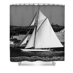 sailboat - a one mast classical vessel sailing in one of the most beautiful harbours Port Mahon Shower Curtain