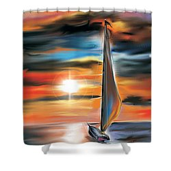 Shower Curtain featuring the digital art Sailboat And Sunset by Darren Cannell