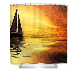 Sailboat At Sunset Shower Curtain by Charles Shoup