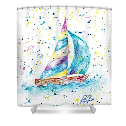 Sailboat By Jan Marvin Shower Curtain