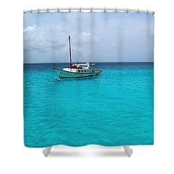 Sailboat Drifting In The Caribbean Azure Sea Shower Curtain