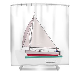 Sailboat Happy Sailor Shower Curtain by Fred Jinkins