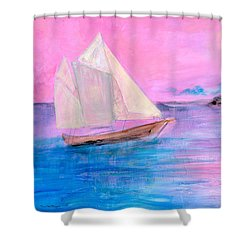 Sailboat In Pink Moonlight  Shower Curtain by Robin Maria Pedrero
