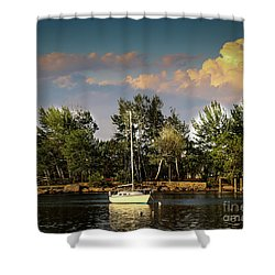 Sailboat In The Bay Shower Curtain