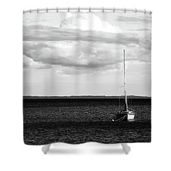Sailboat In The Bay Shower Curtain by Onyonet  Photo Studios