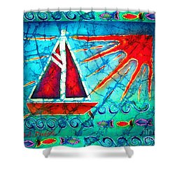 Sailboat In The Sun Shower Curtain by Sue Duda