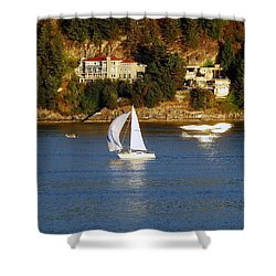 Sailboat In Vancouver Shower Curtain by Robert Meanor