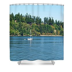 Sailboat Near San Juan Islands Shower Curtain