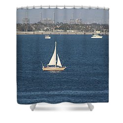 Sailboat On The Pacific In Long Beach Shower Curtain