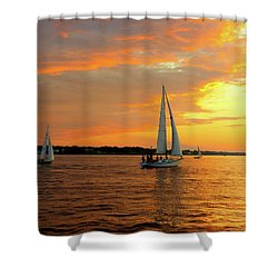 Sailboat Parade Shower Curtain