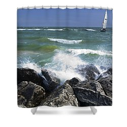 Sailboat Sailing Off The Shore At Ottawa Beach State Park Shower Curtain