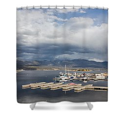 Sailboat Slips On Lake Granby In Grand County Shower Curtain by Carol M Highsmith