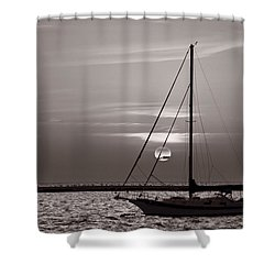 Sailboat Sunrise In B And W Shower Curtain by Steve Gadomski