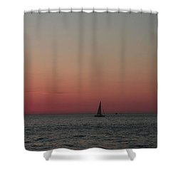 Sailboat Sunset Sky Shower Curtain by Ellen O'Reilly