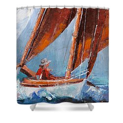 Sailboat Therapy Shower Curtain by Trina Teele