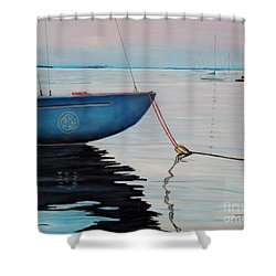 Sailboat Tied Shower Curtain by Marilyn  McNish