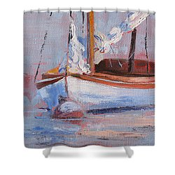 Sailboat Wisdom Shower Curtain by Trina Teele