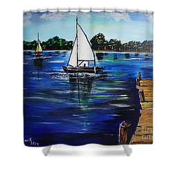 Sailboats And Pier Shower Curtain