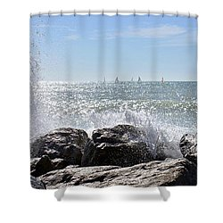 Sailboats And Surf Shower Curtain