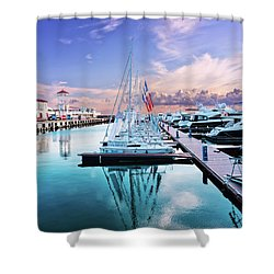 sailboats and yachts in the roads of the main sea channel of the Sochi seaport Shower Curtain