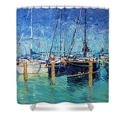 Sailboats At Balatonfured Shower Curtain