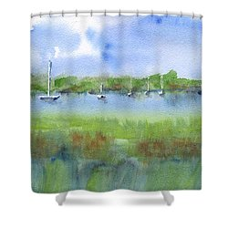 Sailboats At Beaufort Shower Curtain by Frank Bright