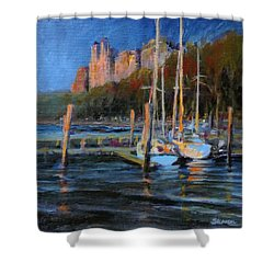 Sailboats At Dusk, Hudson River Shower Curtain by Peter Salwen