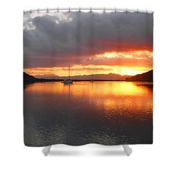 Sailboats At Sunrise In Puerto Escondido Shower Curtain